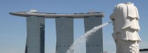 Singapur - Merlion vor Marina Bay Sands